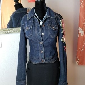 Mossimo dark wash w/ pink flowers denim jacket